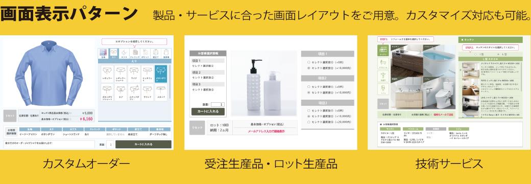 画面表示パターン 製品・サービスに合った画面レイアウトをご用意。カスタマイズ対応も可能。